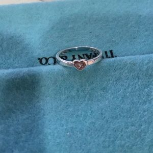Tiffany & Co Sterling Silver Ring with Diamond sz7